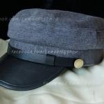หมวกโกโบริ หมวกกัปตัน ผ้า ปีกหน้าหนัง สีเทา