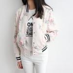 พรีออเดอร์ เสื้อแจ็คเก็ตแฟชั่น เสื้อแจ็คเก็ตเบสบอล ผ้าพิมพ์ลายดอกไม้ สีชมพู