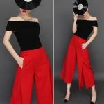Pre-Order กางเกงขากว้าง กางเกงกระโปรง กางเกงกระโปรงลำลอง ผ้าโพลีเอสเตอร์ผสม สีแดง