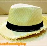 หมวกสาน ทรงไมเคิล สีขาวครีม รอบลุ่ย สดเท่ห์ ฮิตๆ !!!