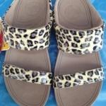 รองเท้า Fitflob Leophard Slide Cream หนังลายเสือสวม 2 สาย สีครีม No.FF088