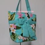 กระเป๋าสะพาย นารายา Summer ผ้าคอตตอน สีเขียว ลายดอกไม้ ผูกโบว์ (กระเป๋านารายา กระเป๋าผ้า NaRaYa กระเป๋าแฟชั่น)