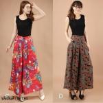 (Pre-Order) กระโปรงกางเกง ผ้าลินิน ผ้าพิมพ์ลาย แฟชั่นมาใหม่สไตล์เกาหลี (แบบ C สีแดงดอกคำฝอย แบบ D สีน้ำ)