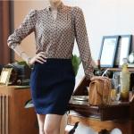 (Pre-Order) เสื้อทำงาน เสื้อคอวี เสื้อเชิ้ตคอวี แขนยาว ผ้าชีฟอง แฟชั่นสไตล์เกาหลีปี 2014