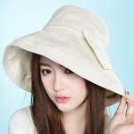 Pre-order หมวกผ้าฝ้ายปีกกว้างติดโบว์ แฟชั่นฤดูร้อน กันแดด กันแสงยูวี สีขาวนวล โทนสีพาสเทลมาแรงในปีนี้
