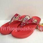 รองเท้า Fitflop New สีำแดงลายดอกไม้ No.FF457