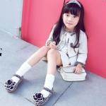 รองเท้าคัทชูเด็ก สีดำ ดอกไม้