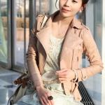 พรีออเดอร์ เสื้อแจ็คเก็ตหนัง เสื้อแจ็คเก็ตผู้หญิง เข้ารูปพอดีตัว สีชมพูอ่อน แต่งซิปเก๋ มีปก แฟชั่นเกาหลี