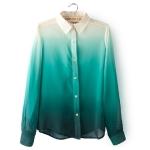 Pre-Order เสื้อเชิ๊ตผ้าชีฟอง สไตล์ยุโรป ไล่โทนสี