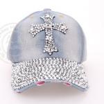 (Pre-order) หมวกเบสบอล ปักหมุดเงิน รูปไม้กางเขน ผ้ายีนส์ แฟชั่นหมวกคาวน์บอยเท่ ๆ