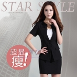 Pre-Order ชุดสูทแฟชั่นผู้หญิง ชุดสูทกระโปรง ชุดทำงาน สูททางการ สูทลำลอง ผ้าโพลีเอสเตอร์ แขนสั้น สีดำ