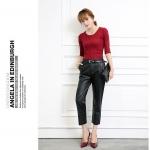 (Pre-Order) กางเกงหนังผู้หญิง เอวสูง PU ขาตรง ขาสามส่วน สีดำ