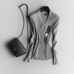 (Pre-order) เสื้อสเว็ตเตอร์ เสื้อถักไหมพรม คอวี แขนยาว กันหนาว สีเทาอ่อน