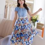 Pre-Order ชุดเดรสยีนส์ผสม เสื้อยีนส์ กระโปรงชีฟองพิมพ์ลายดอกไม้โทนสีฟ้า สไตล์คาวบอย แฟชั้นสไตล์เกาหลีมาใหม่ 2014