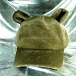 หมวก Bear หูหมี ขนสัตว์นุ่มๆ สีน้ำตาลเทาอมเขียว