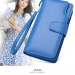 Pre-Order กระเป๋าสตางค์ผู้หญิง ใบยาว 3 พับ ติดซิปเปิดด้านบน สีฟ้า หนังแท้ หนังวัว สไตล์เกาหลี JUNLAN