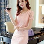 Pre-order ชุดเดรสผ้าลูกไม้ฉลุทั้งตัว เดรสออกงาน เดรสแฟชั่นเกาหลีแท้ สีชมพู