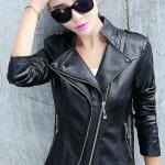 พรีออเดอร์ เสื้อแจ็คเก็ตหนัง เสื้อแจ็คเก็ตผู้หญิง เข้ารูปพอดีตัว สีดำ แต่งซิปเก๋ มีปกใหญ่ แฟชั่นเกาหลี