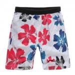 Pre-order กางเกงขาสั้น กางเกงลำลองฤดูร้อน กางเกงทะเล แฟชั่นสไตล์เกาหลี สำหรับหนุ่มไซส์ใหญ่ ดอกชบาขาว-แดง