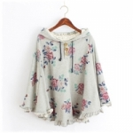 2014 เสื้อคลุมกันหนาว มีฮู้ดน่ารัก แขนค้างคาว สีเบจ พิมพ์ลายดอกกุหลาบ มีสายผูกด้านหน้า สวยน่ารักมากๆค่ะ