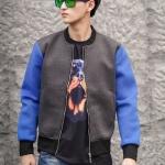 Pre-Order เสื้อสเวตเตอร์ เสื้อกันหนาว เสื้อเบสบอล คอกลม ผ้าฝ้ายผสม สีน้ำเงิน เทา ฟ้า แฟชั่นสไตล์ยุโรป