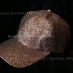 หมวก Cap กากเพชร กลิตเตอร์ สีน้ำตาล