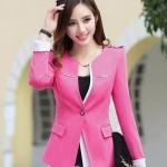 Pre-Order เสื้อสูททำงานแขนยาว เสื้อสูทผู้หญิง สูทลำลอง สีชมพู แฟชั่นชุดทำงานสไตล์เกาหลีปี 2014