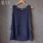(Pre-Order) เสื้อชีฟองแขนสั้น สีน้ำเงินเข้ม เสื้อผ้าลำลอง สบาย ๆ แต่ดูดีมาก แฟชั่นเสื้อเวอร์ชั่นเกาหลีปี 2014