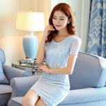Pre-order ชุดเดรสผ้าลูกไม้ฉลุทั้งตัว เดรสออกงาน เดรสแฟชั่นเกาหลีแท้ สีฟ้า