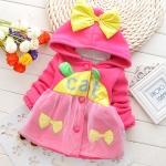 (พร้อมส่ง Size 140 ) เสื้อกันหนาวน่ารัก สีชมพูสดใส ผ้าหนาอย่างดี
