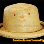 หมวกสาน หน้ายิ้ม สีน้ำตาลอ่อน ปีกรอบม้วน น่ารักมากกกกก !!!