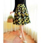 Pre-order กระโปรงพลีท จีบใหญ่ ผ้าใยกัญชาพิมพ์ลายดอกไม้เหลือง แฟชั่นเรโทรย้อนยุค กระโปรงยาว