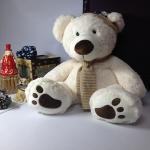 ตุ๊กตาหมีสีขาว ใส่หมวก size 80 cm.