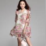 (Pre-Order) เดรสผ้าชีฟอง แขนสั้น มีซับใน ลายดอกกุหลายโทนสีชมพูม่วง แฟชั่นสไตล์เกาหลี ปี 2015