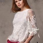 พรีออเดอร์ เสื้อผ้าลูกไม้ แขนสามส่วน เสื้อผ้าแฟชั่นสไตล์ยุโรป 2014 สีขาว