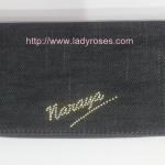 กระเป๋าสตางค์ นารายา ผ้าเดนิม สียีนส์ น้ำเงินเข้ม ขอบส้ม ( กระเป๋านารายา กระเป๋าผ้า NaRaYa )