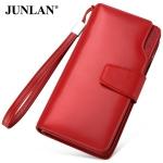 Pre-Order กระเป๋าสตางค์ผู้หญิง ใบยาว 3 พับ ติดซิปเปิดด้านบน สีแดง หนังแท้ หนังวัว สไตล์เกาหลี JUNLAN