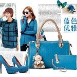 พรีออเดอร์ กระเป๋าถือผู้หญิง กระเป๋าสะพายไหล่ หรือสะพายข้าง กระเป๋าแฟชั่นเกาหลี 2014 สีฟ้าเข้ม