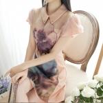 เดรสฤดูใบไม้ผลิ 2015 ชุด organza ใหม่หญิงบางเกาหลี 3D พิมพ์ชุดแขนสั้นพัฟ bottoming