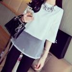 (Pre-Order) เสื้อชีฟองแขนสั้น สีเขาว แฟชั่นเสื้อสไตล์เกาหลีปี 2014