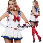 ชุดแฟนซี ชุดคอสเพลย์ cosplay ชุดนิทาน = ชุดเซเลอร์มูน sailor moon ชุดทหารเรือ โบว์แดง + ถุงมือ =