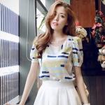 2015 เสื้อเเฟชั่นน่ารัก : เสื้อชีฟองพิมพ์ลายพัฟ สีมะนาว สวยหวานน่ารักมากๆค่ะ
