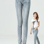 Pre-Order กางเกงยีนส์ฟอก สไตล์เรโทร ยีนส์ขาด เอวสูง ขายาว เนื้อผ้านิ่ม ไซส์ใหญ่