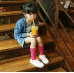 ถุงเท้าเด็กแบบยาวสีชมพู