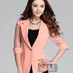 Pre-Order เสื้อสูทแฟชั่นทำงาน เสื้อสูทผู้หญิงสีส้มอ่อน สูทคอวี คอปก แขนสามส่วนผ้าลูกไม้ แฟชั่นชุดทำงานสไตล์เกาหลี