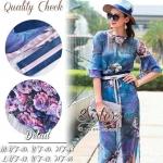 สินค้าพร้อมส่ง 한국에 의해 설계된 2Sister Made, Blue Lady Magic Style with Pink Flora Dress แม็กซี่เดรส เนื้อผ้าchiffonพิมพ์ลายดอกไม้สวย งานมีซับในสายเดี่ยวแยกชิ้นให้อย่างดีค่ะ ดีเทลแขนยาวสี่ส่วน ปลายแขนแต่งผ้าระบายบานเป็นเลเยอร์ชั้นๆสวยมากค่ะ มาพร้อมกับเชือกผูกโ
