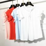 เสื้อแฟชั่น 2016 ฤดูร้อนใหม่เกาหลีหลวม flounced ชีฟองแขนเสื้อโบว์เสื้อเสื้อยืดหญิง