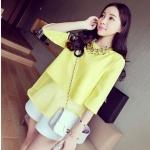(Pre-Order) เสื้อชีฟองแขนสั้น สีเหลือง แฟชั่นเสื้อสไตล์เกาหลีปี 2014
