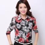 Pre-order เสื้อเชิ้ตผ้าฝ้าย แขนยาว เสื้อทำงาน พิมพ์ลายดอกไม้สีแดง-ดำ แฟชั่นสไตล์เกาหลี
