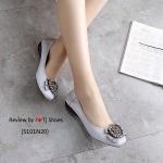 รองเท้าคัชชู ทำจากผ้าด้านหน้าหัวใจ น่ารัก มาพร้อมพื้นบุนวมนิ่ม